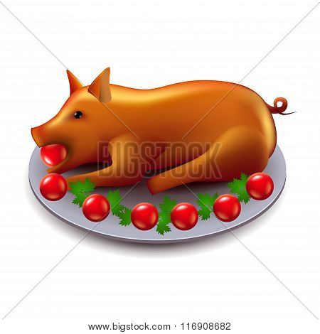 Baked Pig Isolated On White Vector