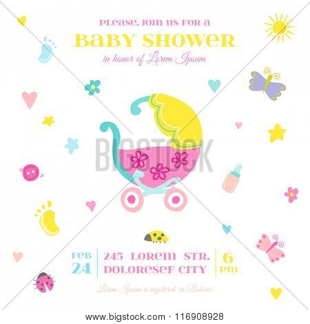Baby Shower or Arrival Card - with Baby Elements - in vector