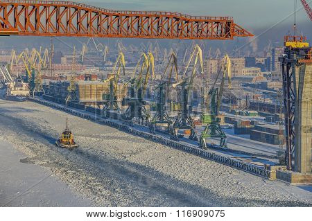 Top View Of Winter Sea Port Of Saint Petersburg, Russia.