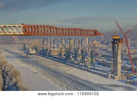 Sea Channel And Cargo Port, Saint-petersburg, Russia, Winter, Top View.