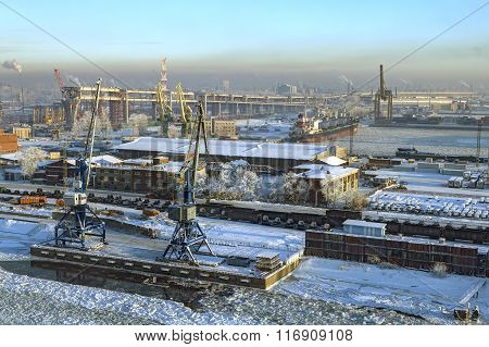 Top View Of Sea Port Saint Petersburg, Russia, Winter Day.