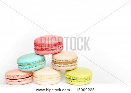 French sweet delicacy macaroons isolated