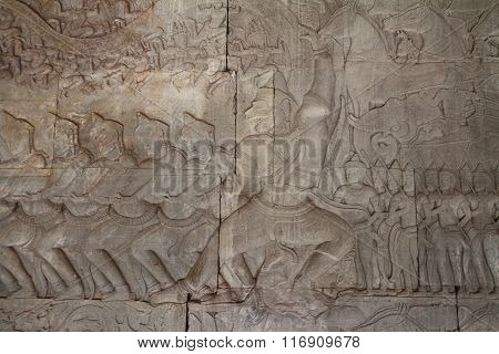 Relief of the Churning of the Ocean of Milk at Angkor Wat in Siem Reap Cambodia