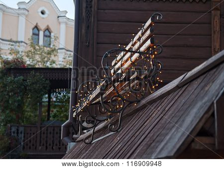 Retro Bench And Garlands. Architecture And Decoration