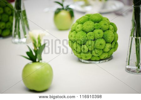 Green decorative decoration for wedding table