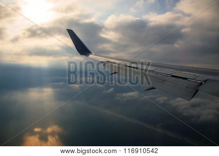 Airplane Wing Against Ray Light