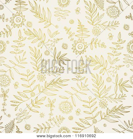 Elegant stylish hand draw floral wallpaper. Gold pattern