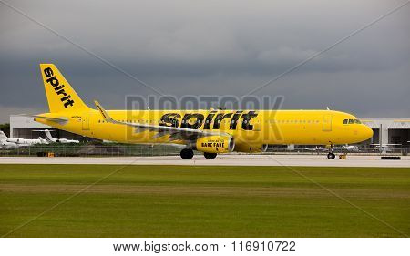 A Spirit Airlines Airbus A320 at the Fort Lauderdale/Hollywood International Airport