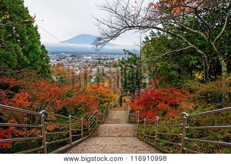 Mt. Fuji View From Stairway Of Chureito Pagoda
