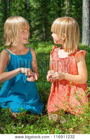 Two little girls wearing blue and red summer dress picking and eating blueberries in a forest
