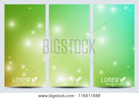 Set of vector flyers.  Background science, connection, chemistry, biology, medicine, technology. Mod