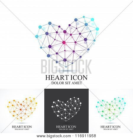 Modern set icon heart. Vector template for medicine, science, technology , chemistry, biotechnology