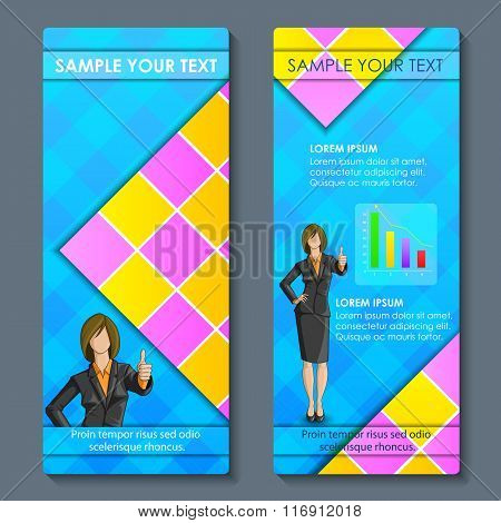 Business woman in formal suit on corporate brochure design