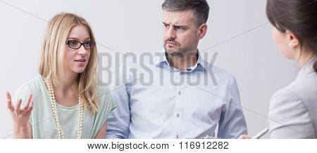 Man And Woman With Psychologist