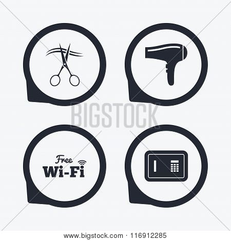 Hotel services icon. Wi-fi, Hairdryer and safe.
