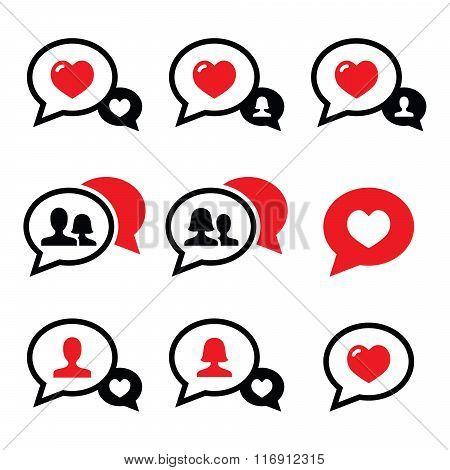 Love speech bubbles, couples vector icons set