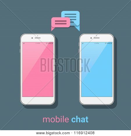 Smartphones With Colorful Speech Bubbles On A Dark Background. Mobile Chat, Online Messages. Modern