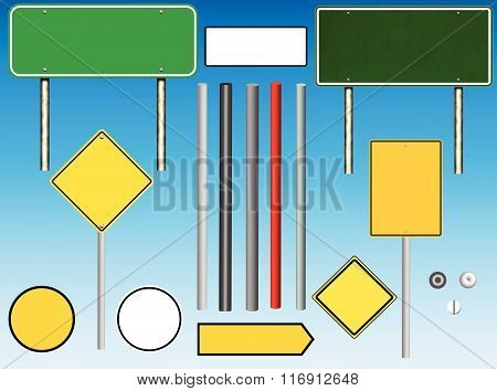 Road and Highway Sign Assembly Kit for designing projects