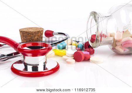 Red Stethoscope And Pills