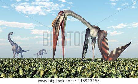 Brachiosaurus and Quetzalcoatlus
