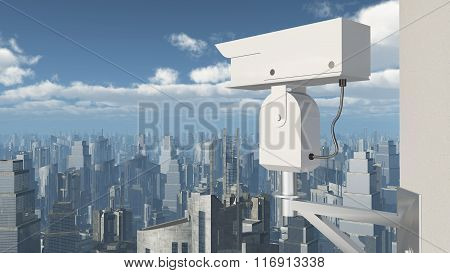 Surveillance camera over a city