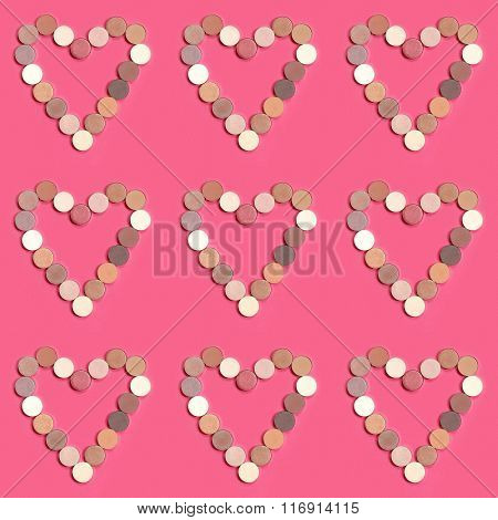 heart shape pattern of colorful eyeshadows. wallpaper