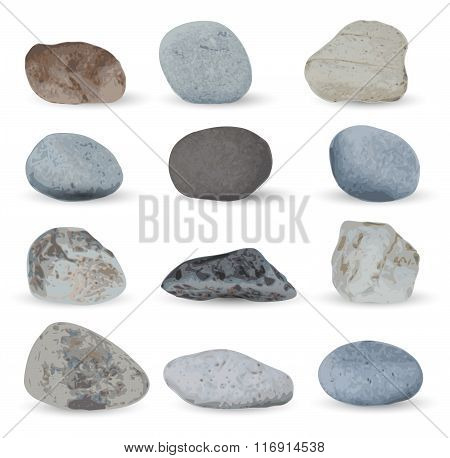 Grey sea stones collection isolated on white background. Vector illustration.