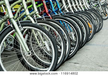 Quebec City, Quebec, Canada - Sept. 9, 2015: Bicycles arranged along a sidewalk before an international cycling event in Quebec, Canada..