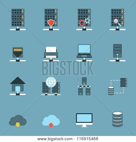 Server Hosting Icons Flat