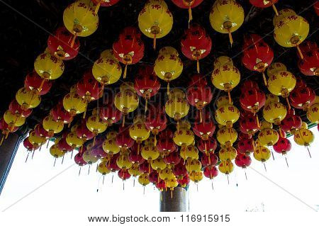 Many yellow and red chinese lanterns