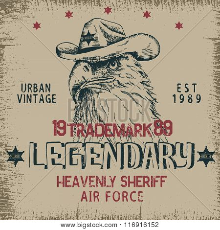 Vintage label with eagle-sheriff