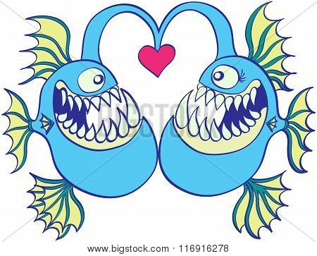 Deep sea fishes falling in love