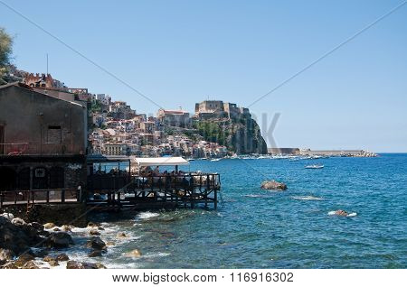 View From The Beach Of The Town Of Scilla, Calabria, Italy