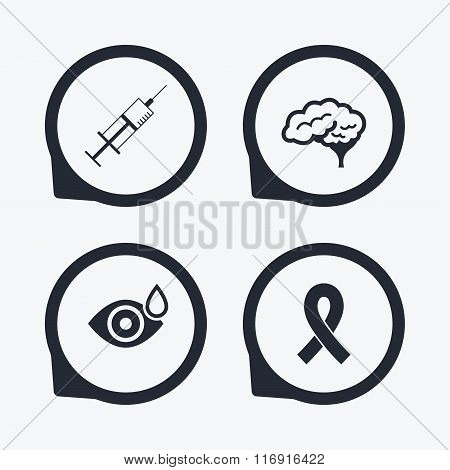 Medicine icons. Syringe, eye, brain and ribbon.