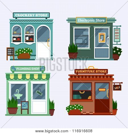 Vector flat illustration of buildings that are shops that are selling electronics notebook, tablet,