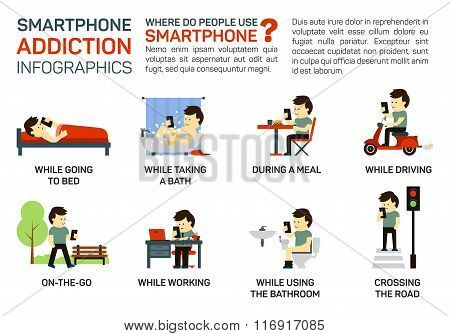 Vector flat illustration of smartphone addiction. Danger of using it when going to bed, having a mea
