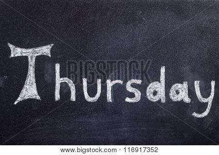Thursday Handwritten On Blackboard