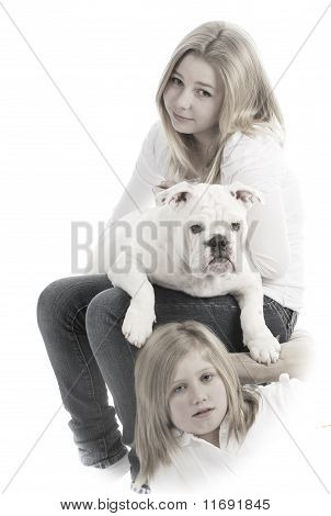 Sisters And Their Dog
