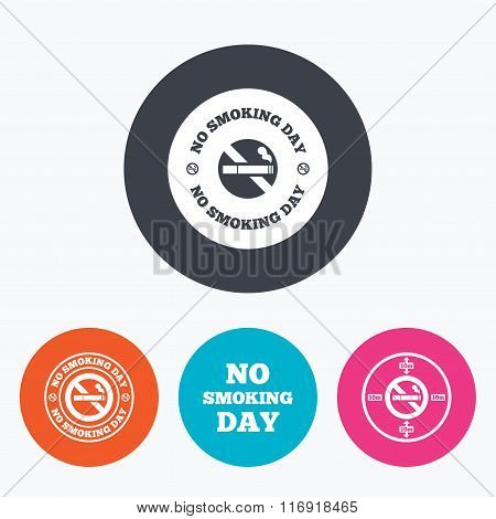 No smoking day icons. Against cigarettes.