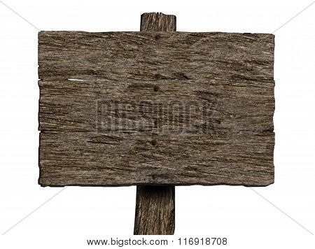 Blank Old Wooden Sign (Isolated on white)