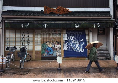 TOKYO JAPAN - NOVEMBER 15 2015: Closed souvenir shops with beautiful painting on the door. There are many souvenir shops line up the way toward Sensoji Temple.