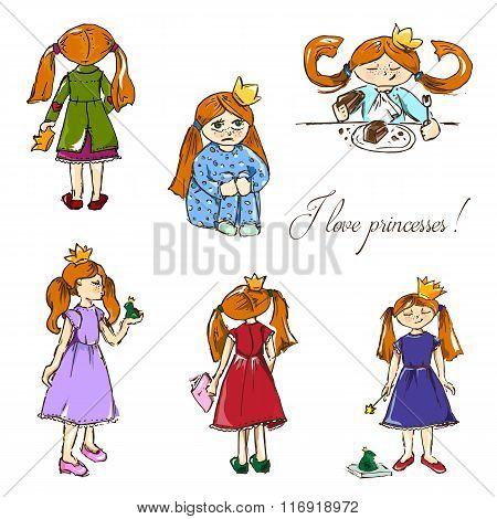 Hand-drawn Illustrations. I Love Princesses.