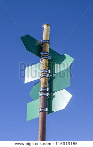 Blank Green Directional Signs