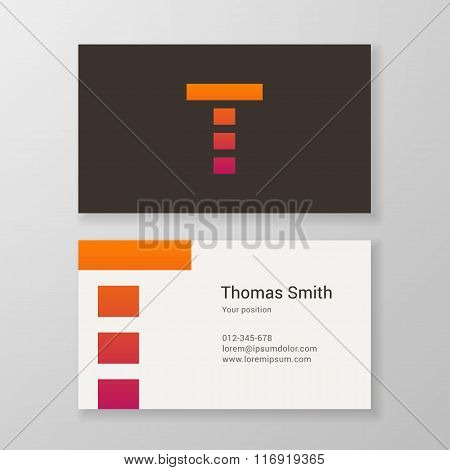 Letter T Stripes Business Card Template