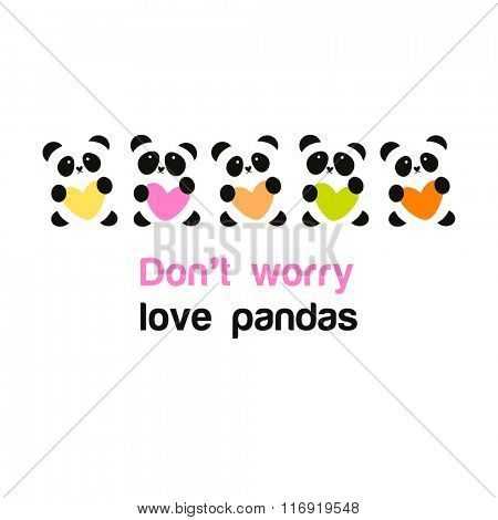 Pandas with heart - the idea for the poster for animal protection. Do not worry - love pandas.