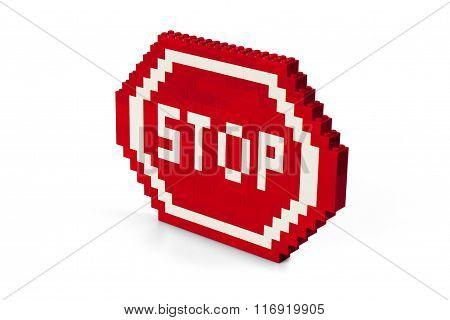 Brick made Stop road sign