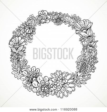 Round Decorative Frame From Imaginary Doodle Flowers Black And White Drawing For Coloring