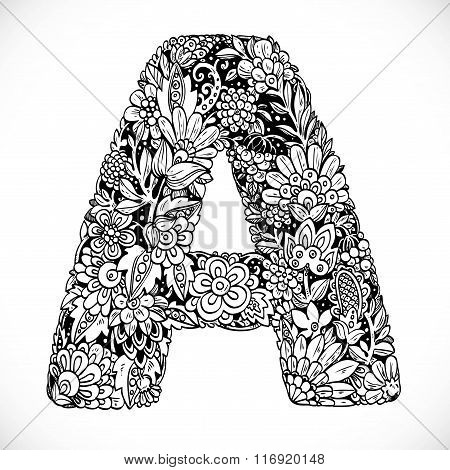 Doodles Font From Ornamental Flowers - Letter A. Black And White