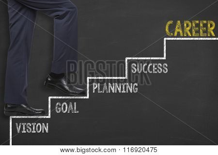 Career Concepts Step Drawing on Blackboard
