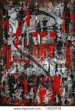 Zinger, original heavily textured abstract painting - red version